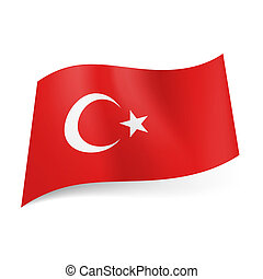 State flag of Turkey. - National flag of Turkey: white...