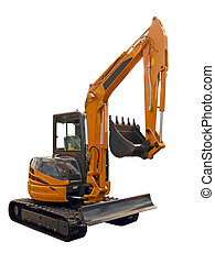 Small excavator on a white background