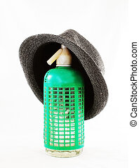 Green seltzer with gray hat old and obsolete