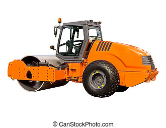 New road roller on a white background