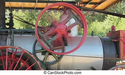 belt and pulley - belt driven pulley on a vintage steam...