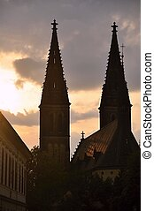 Vysehrad at sunset - a historic church in the beautiful city...