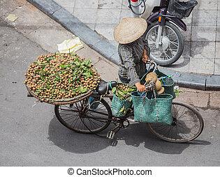 ulica, sprzedawca, Hanoi, Sprzedajcie, owoce, rower, Wietnam
