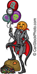 Halloween Pumpkin Head Jack - Illustration Pumpkin Head Jack...