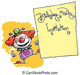 Clown Holding Invitation-Birthday Party - Cartoon/Artistic...