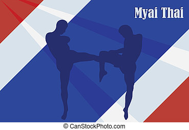 Thai boxing - Illustration with the image of Thai boxers...
