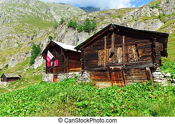 dos, traditinal, alpino, Chozas