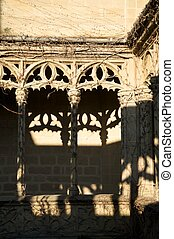 detail of columns palace - public castle of olite village in...