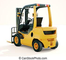 Forklift truck - Modern forklift truck on light background