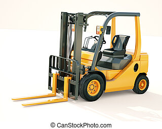 Forklift truck - Modern forklift truck on light background