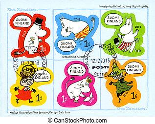 FINLAND - 2013: shows Moomin characters - FINLAND - CIRCA...