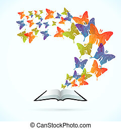 Butterfly Book - Butterfly book vector concept illustration