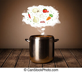 Vegetables in vapor cloud - Vegetables in vapor steam above...
