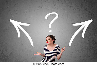 Young woman taking a decision