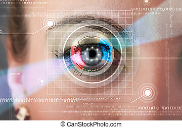 Cyber woman with technolgy eye looking - Modern cyber woman...