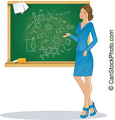 Beautiful teacher - Vector illustration of Beautiful teacher