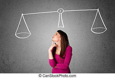 Young woman taking a decision - Pretty young lady taking a...