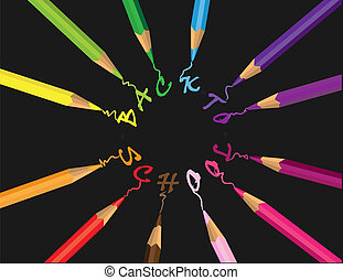 colored pencils - Vector background with colored pencils