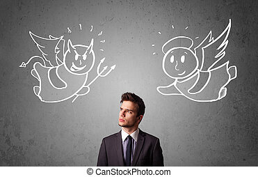 Businessman standing between the angel and the devil - Young...