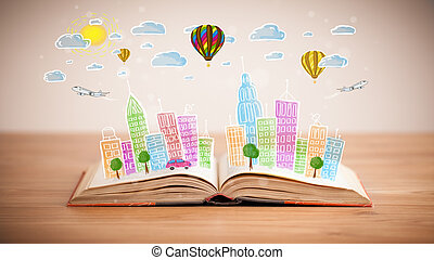 cityscape drawing on open book - Colorful cityscape drawing...