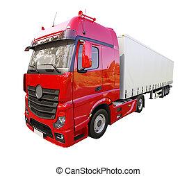 remolque medio, camión, aislado