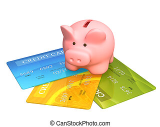 Credit cards - Piggy bank and credit cards