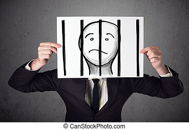 Businessman holding a paper with a prisoner in jail behind...