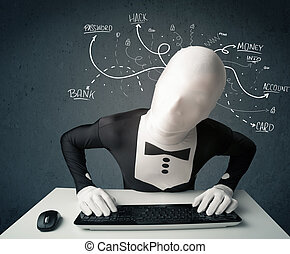 Morphsuit hacker with white drawn line thoughts - Dangerous...