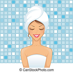 Young woman in bathroom - Vector illustration of Young woman...