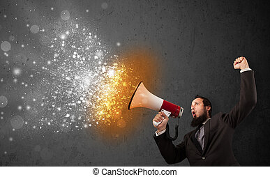 Guy shouting into megaphone and glowing energy particles...