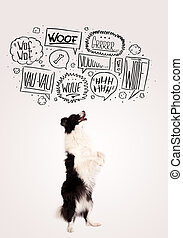 Cute dog with barking bubbles - Cute black and white border...