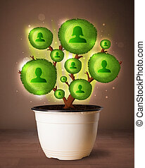 Social network tree coming out of flowerpot - Shining social...