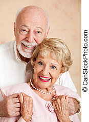 Portrait of Happy Senior Couple - Head and shoulders...