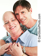 Loving Couple Beats Cancer - Loving husband supporting his...