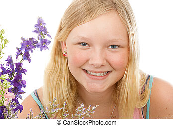 Portrait of Beautiful Blond Teenage Girl