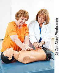 Adult Ed - Learning CPR - Doctor teaches adult education...