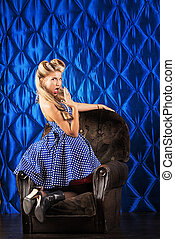 exquisite - Charming pin-up woman with retro hairstyle and...