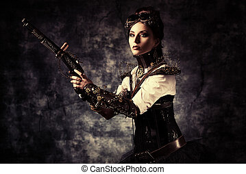 fancy dress - Portrait of a beautiful steampunk woman...