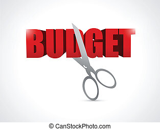 cutting budget. illustration design over a white background