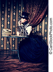 inventor - Portrait of a beautiful steampunk woman over...
