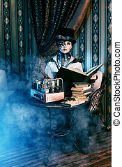 originator - Portrait of a beautiful steampunk woman over...