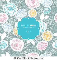 Silver and colors florals frame seamless pattern background...
