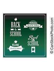 Back to school vintage ribbons set.