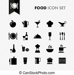 Black isolated Food menu icon set.