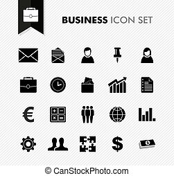 Black isolated business work icon set. - Black isolated...
