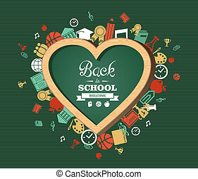 Back to school text, education love symbol and icons -...