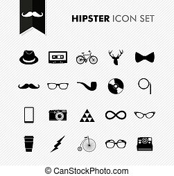 Black isolated vintage hipster icon set - Hipster icon set...