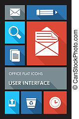 Colorful office UI apps user interface flat icons. - Office...