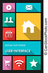 Colorful social media UI apps user interface flat icons. -...
