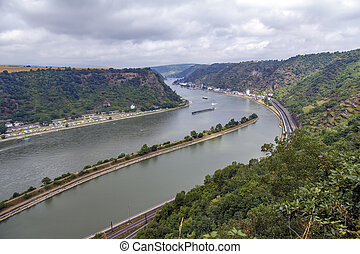 Rhine River, view from St Goarshausen Loreley Rock, Rheingau...